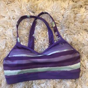 Brooks Purple abstract racerback sports bra